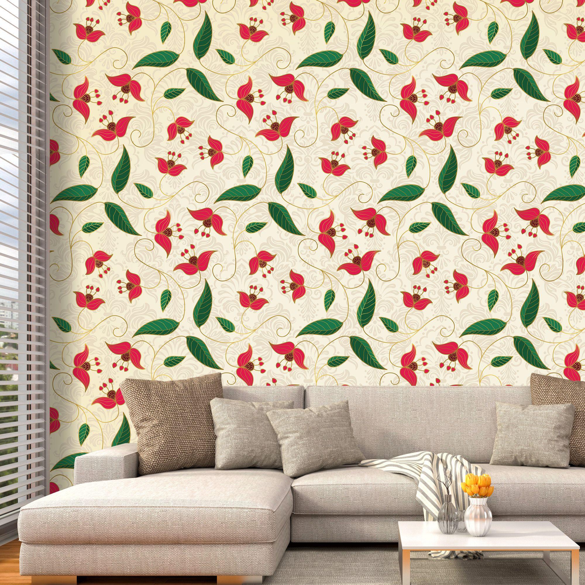 Indian Art Wallpaper Removable Wallpaper Leaf Wall Mural Etsy In 2020 Removable Wallpaper Art Wallpaper Wall Murals