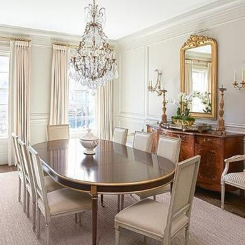 Oval French Dining Table With Gold Trim And Gray Linen Square Back Dining  Chairs Part 82