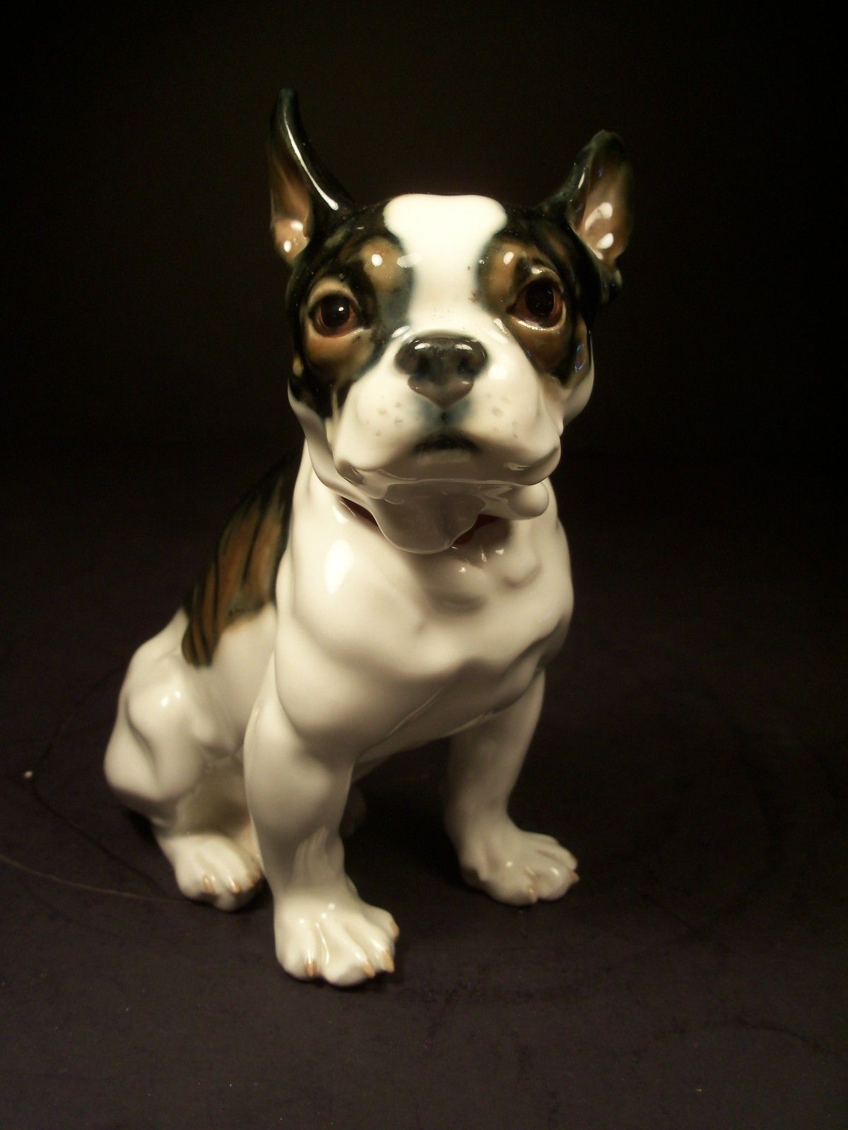 Lifelike Antique Meissen Porcelain Figure Of Bulldog Ebay Porcelain Dog Vintage Dog Dog Statue