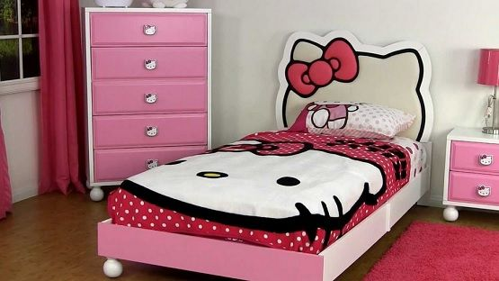 Hello Kitty Kids Bed Furniture Girl Bedroom Decor Kids Bed