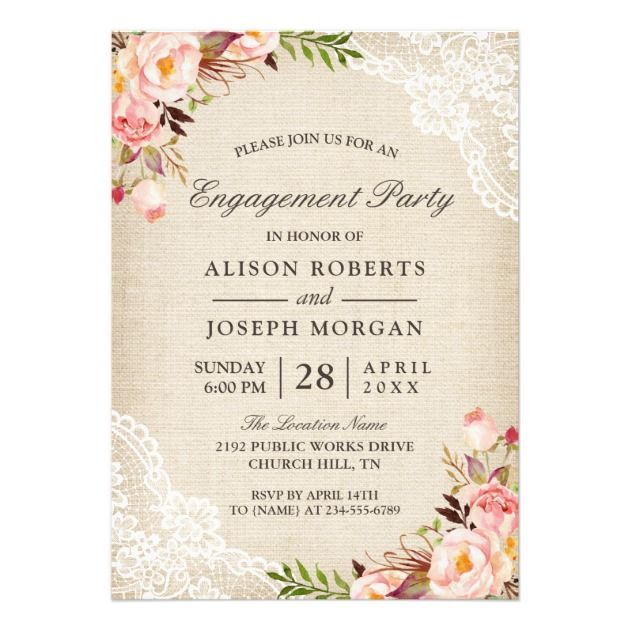 Rustic Rose Floral Burlap Lace Engagement Party Invitation With