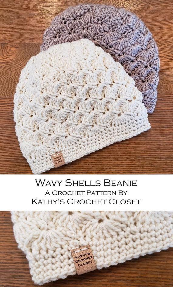 Crochet Beanie PATTERN - Wavy Shells Beanie Hat - Crochet Hat Pattern - DIY Crochet Hat - Shell Stitch Hat - Crochet Cap Pattern #beaniehats
