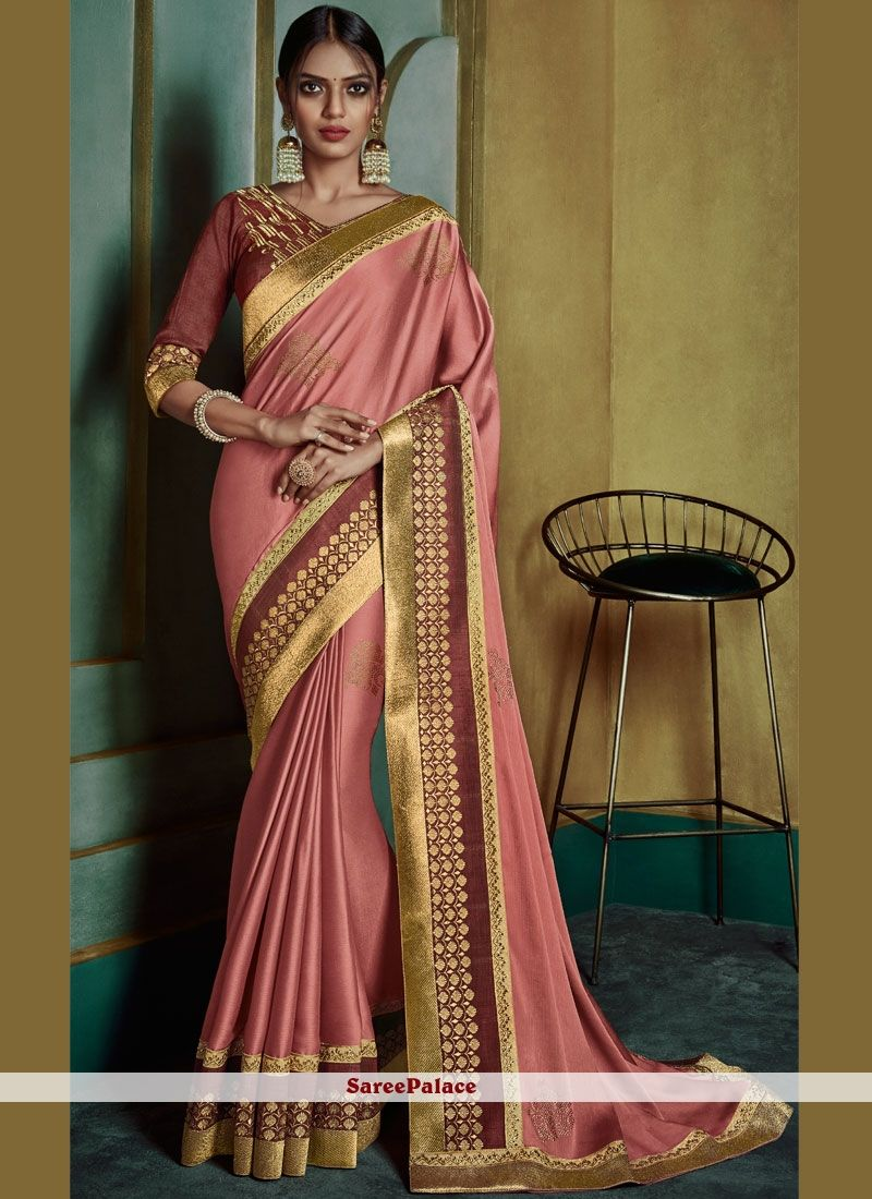 74393d33ed3dcd Border Silk Pink Designer Saree in 2019