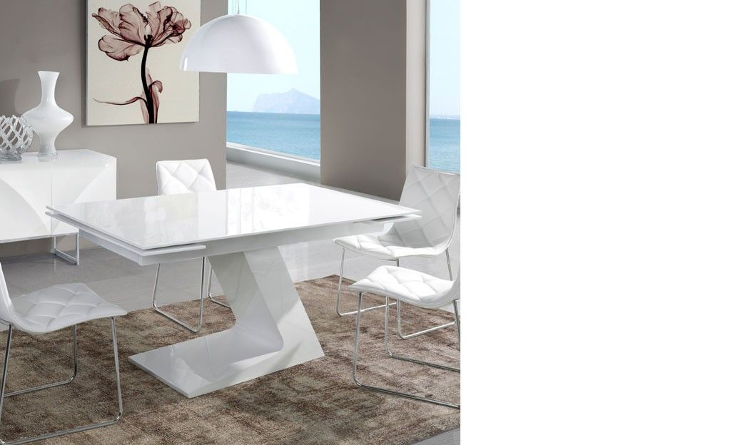 Table Salle A Manger Extensible Design Blanc Laque Zag Table