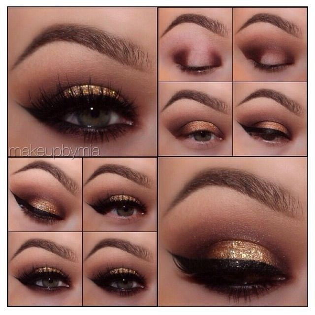 Step by step eye makeup. Gold smokey eye
