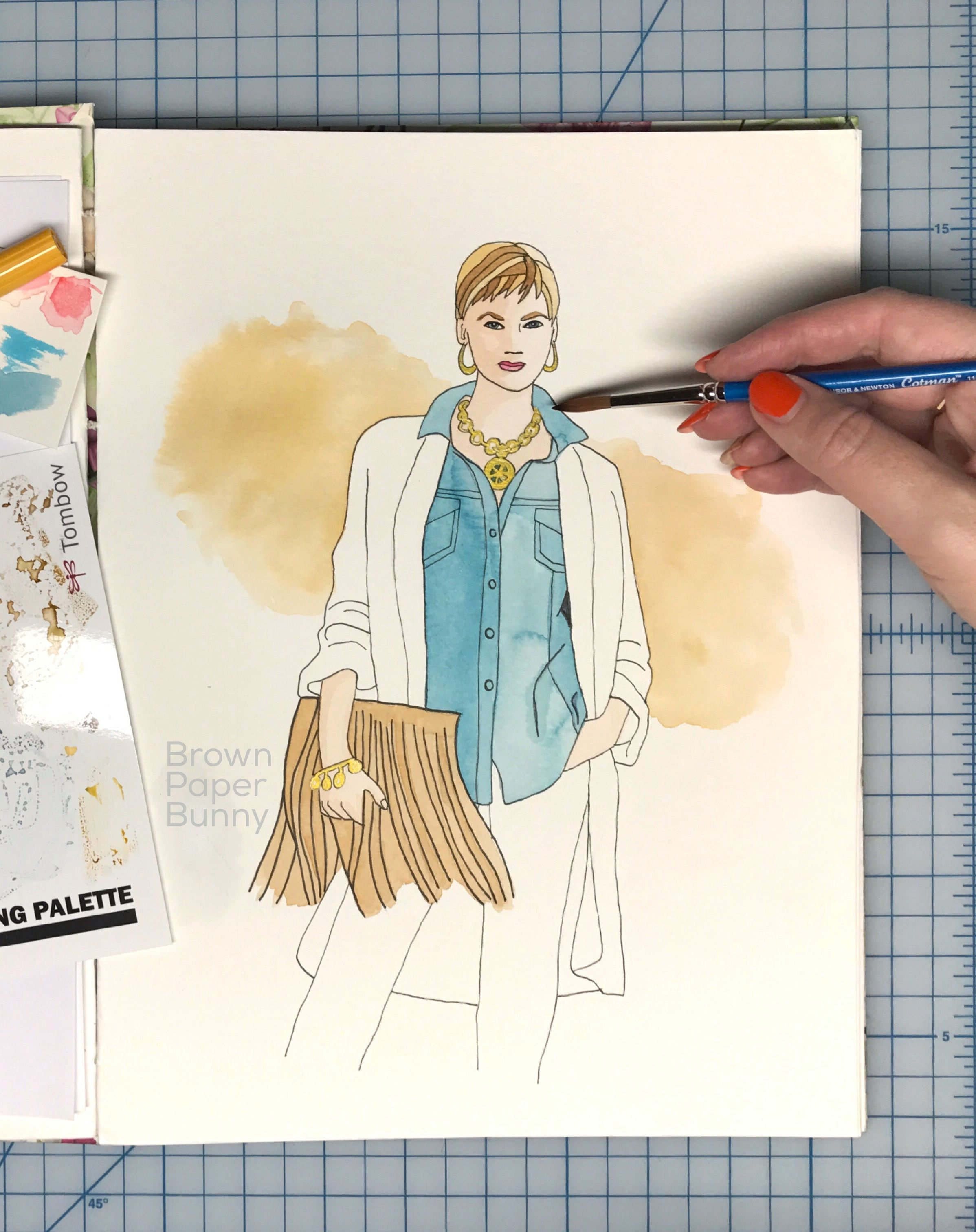 Day 18 of the Inktober Fall Fashion Illustration challenge is Chambray shirt. See more at http://www.brownpaperbunny.com/blog/inktober-day-18-chambray