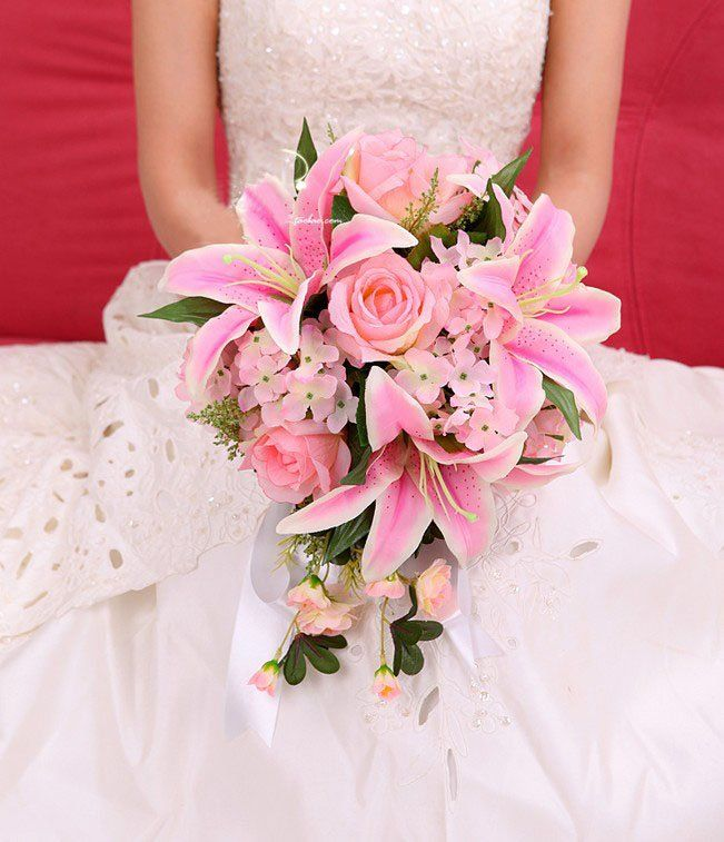 New Arrival Pink Ivory Lily Silk Wedding Bouquets Bridal