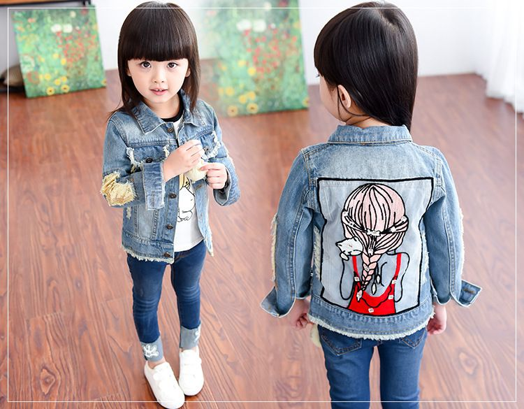 4fb895a1e Click to Buy << Spring Girls Denim Jacket kids Coat Sequin Cartoon Flower  Pattern size 8 10-12 7-16 6 3t 4t 12 10 #Affiliate