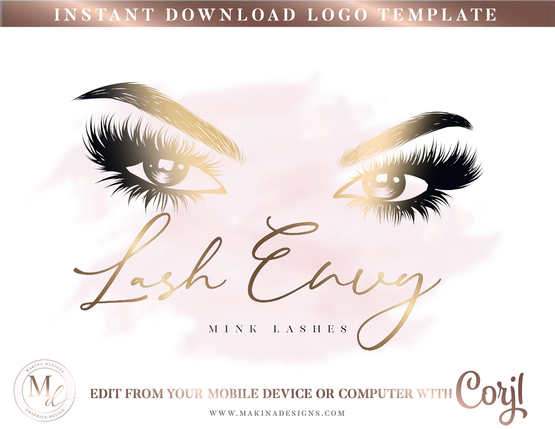 Logo Lashes Digital Corjl DIY Lash Business Editable Lash Logo DIY Lash Logo