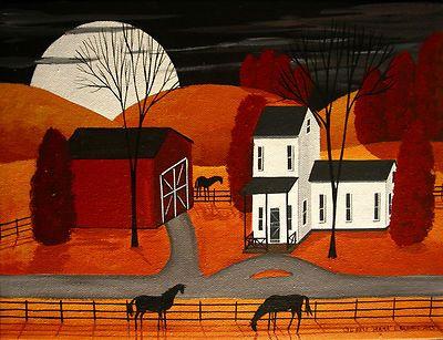 Original Painting Folk Art Landscape Autumn Farm Red Barn Black Horses Full Moon | eBay