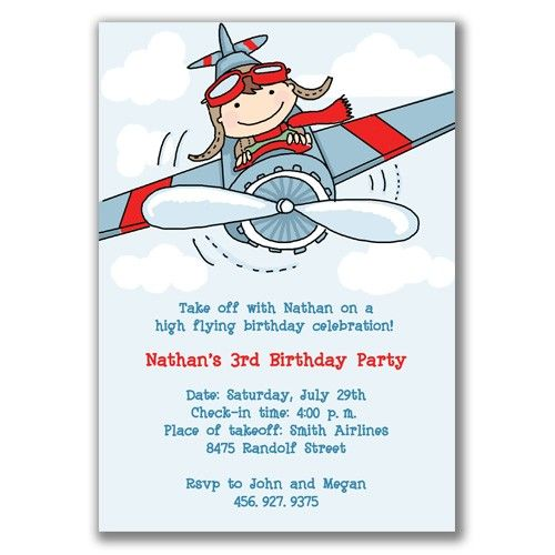 Boy Flying Airplane Invitations For Kids Birthday Party By Milelj