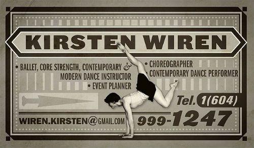 Business card: Kirsten Wiren coreographer