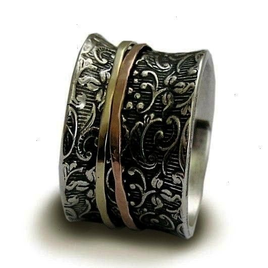 silver ring wide ring thin gold bands spinner ring twotone band wide band wedding ring  a way of life R1209A Sterling silver band silver ring wide ring thin gold bands sp...