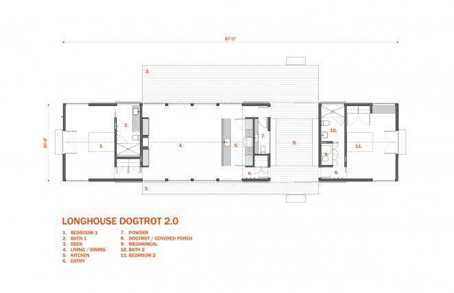 Longhouse Dogtrot Floor Plan 2 Bedroom Architect Designed Plan Set House Plans House Floor Plans Floor Plans