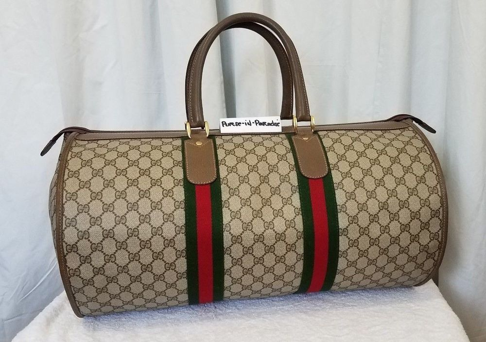 aad84c88ef6948 Vintage Gucci Duffel Carry-on Travel Bag GG Monogram Authentic 80 ...