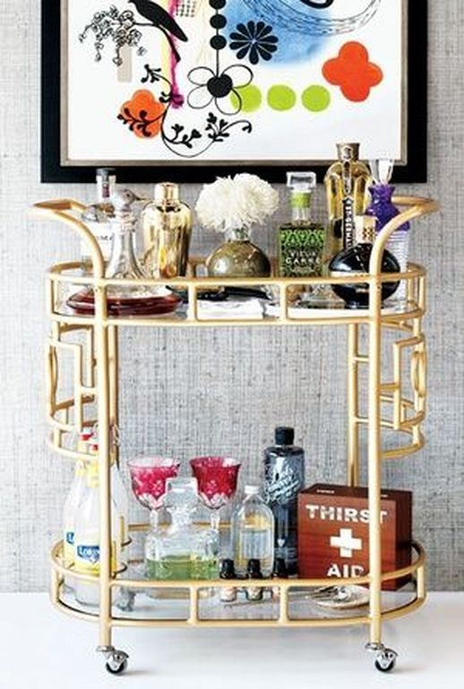 20+ Modern Gold Bar Cart Design And Styling Ideas | Decoration Ideas ...