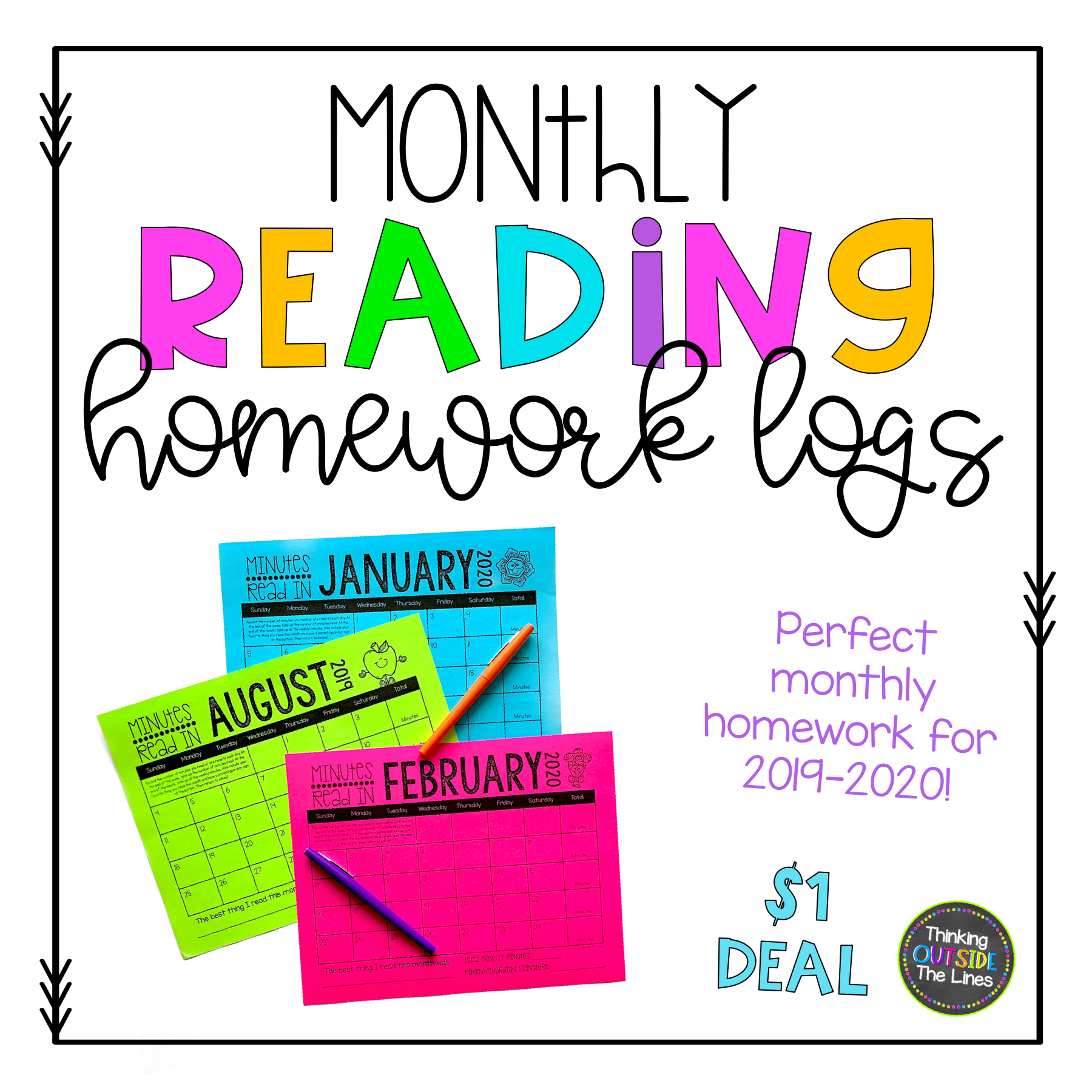 Dollar Deal Monthly Reading Logs