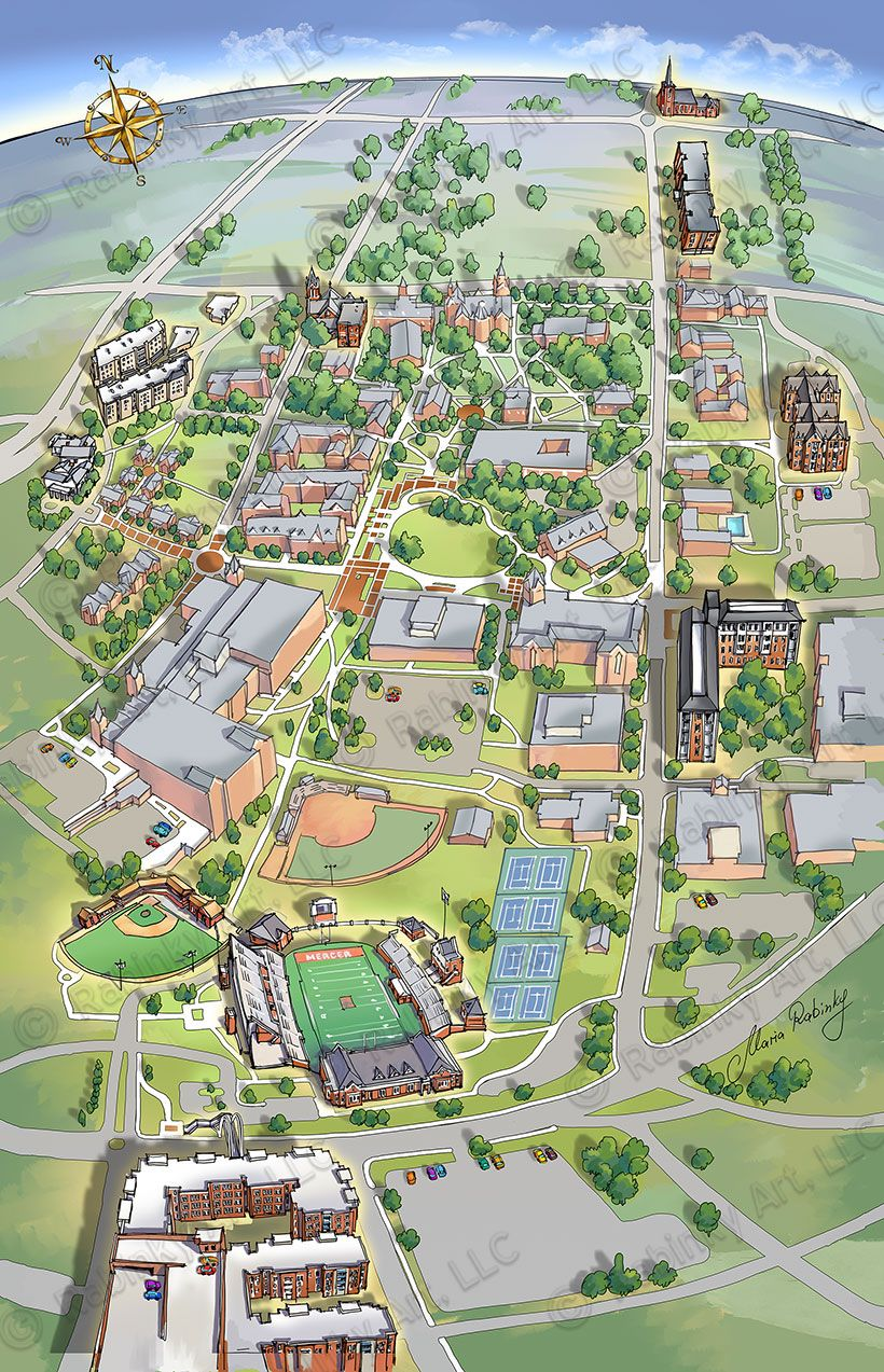 Bellarmine University Illustrated Campus Map, Map Illustration