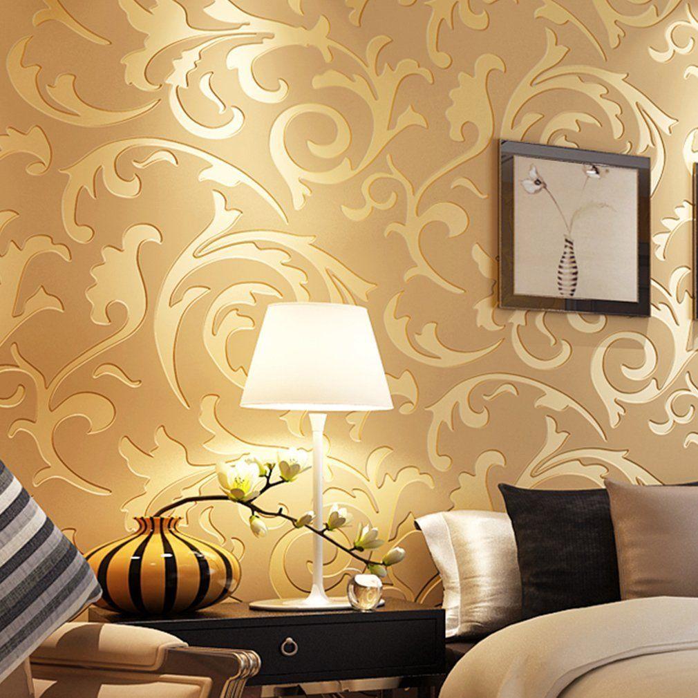 Auralum® Modern Luxury 3D Pattern Gold Wallpaper Home Decor | 3d ...