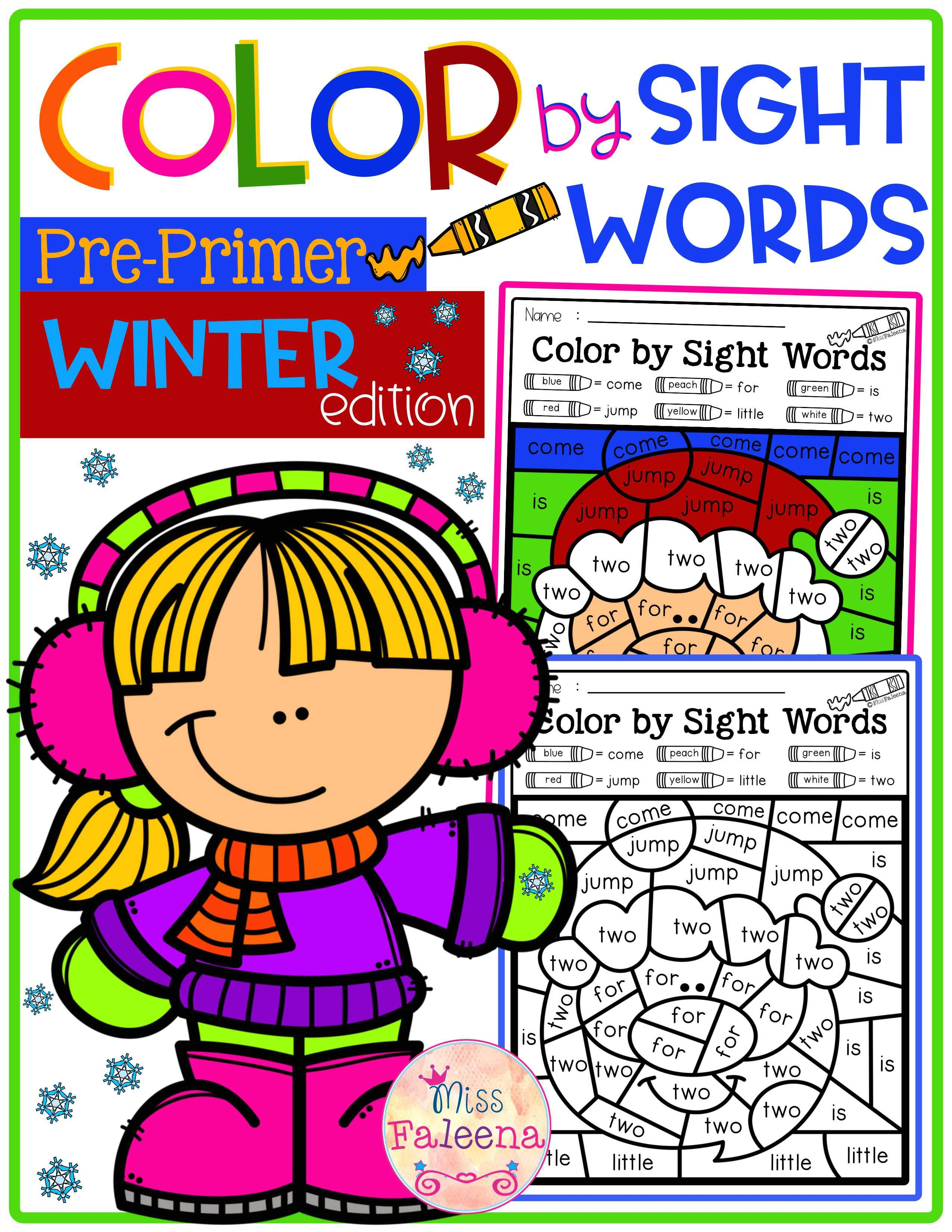 Winter Color By Code Sight Words Pre Primer