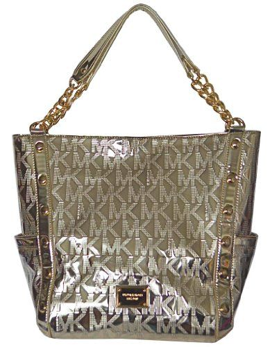 8291d438d0f89c The Michael Kors Pale Gold Pvc Mk Mirror Metallic Signature Delancy Large  Shoulder Handbag Purse Tote is a top 10 member favorite on Tradesy.