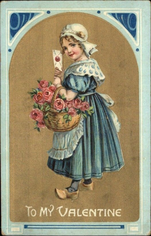 VALENTINE Little Girl w Roses and Letter c1910 Postcard