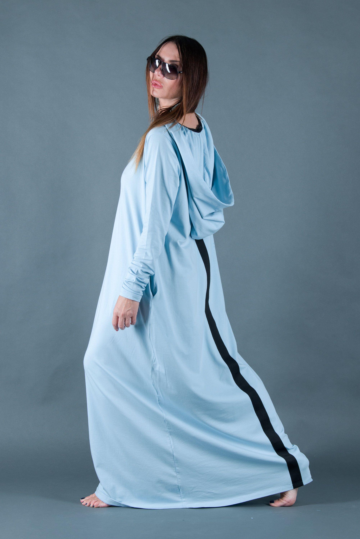 Light blue women cotton hooded dress loose maxi dress hooded maxi