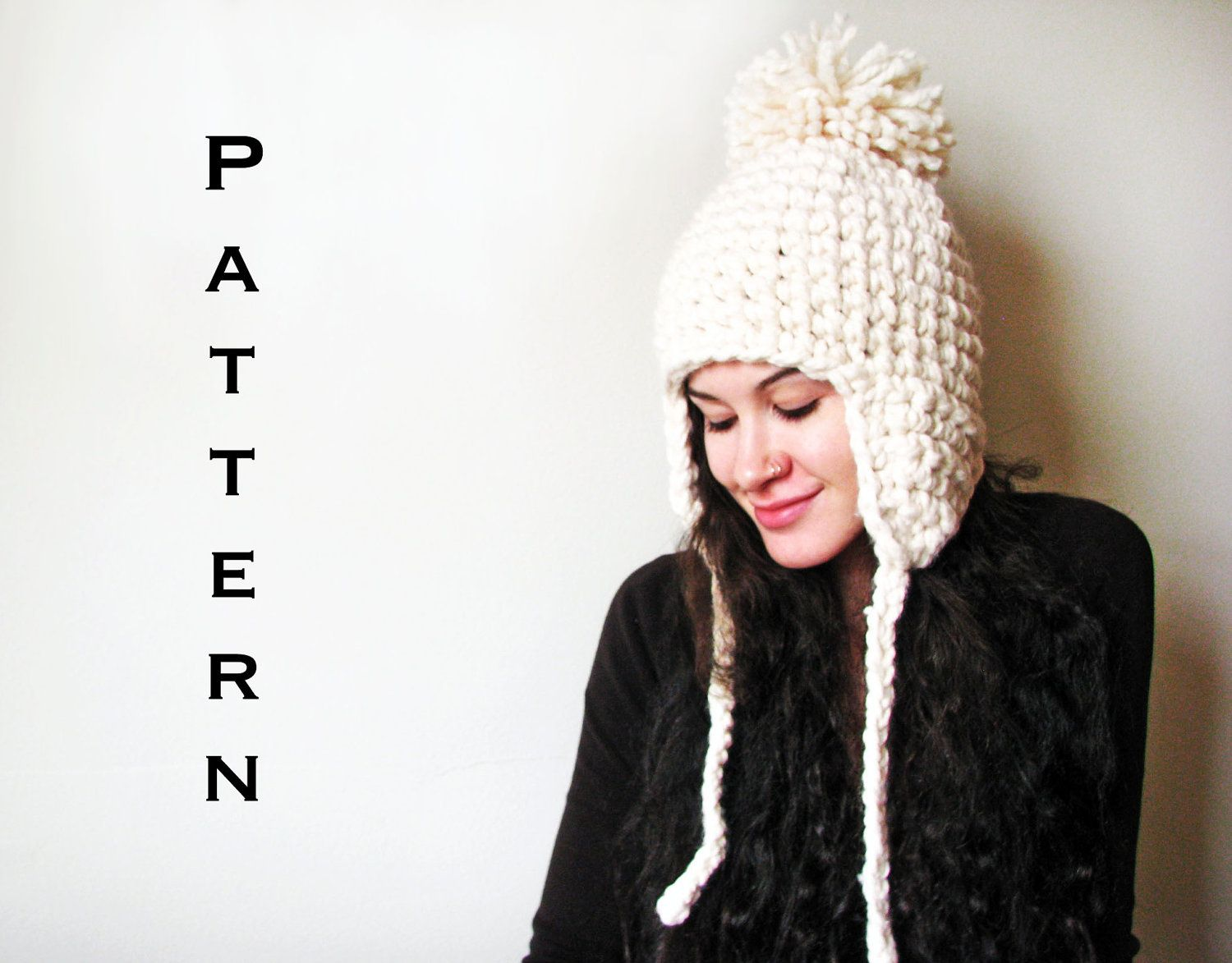 PDF PATTERN - The Yeti - Crochet Ear Flap Trapper Hat Snow White ...