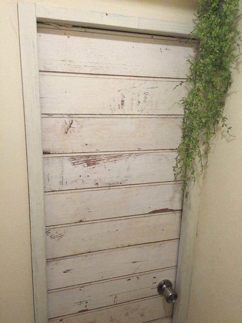 トイレの扉を輸入壁紙でリメイクしちゃうぞッ リフォーム Diy 扉 トイレ