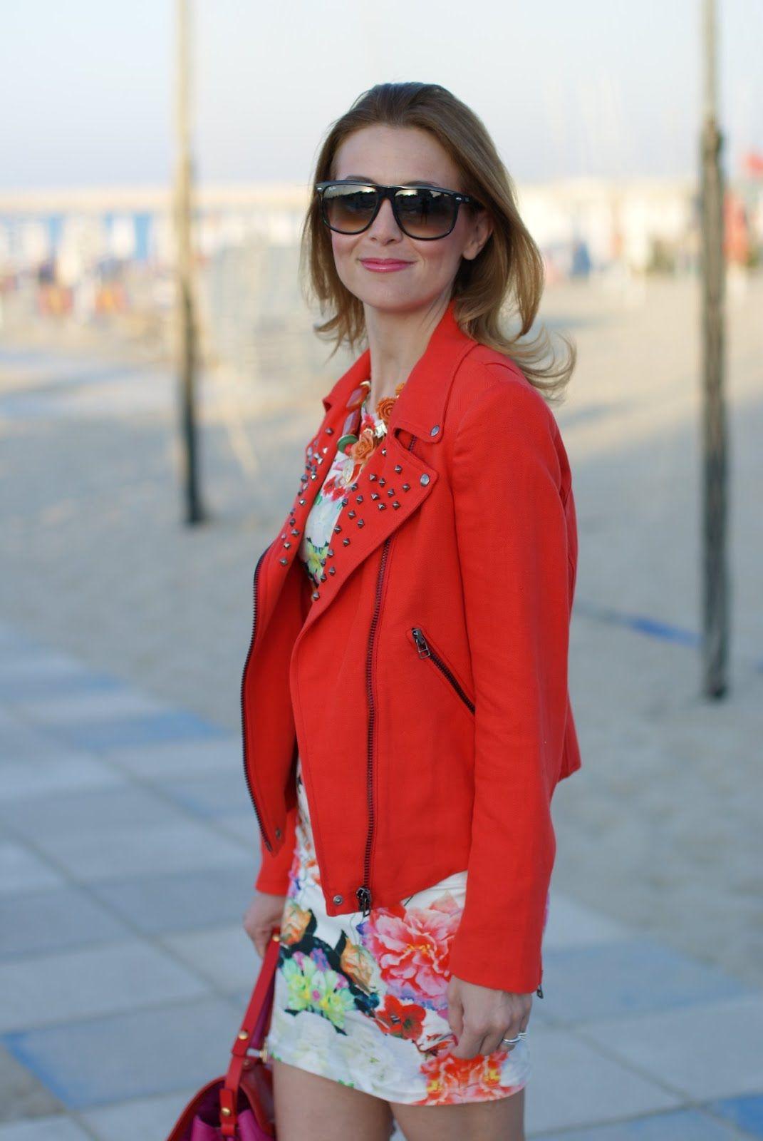 Zara linen studded jacket, tight floral dress, Fornarina shoes, Marc Jacobs bag