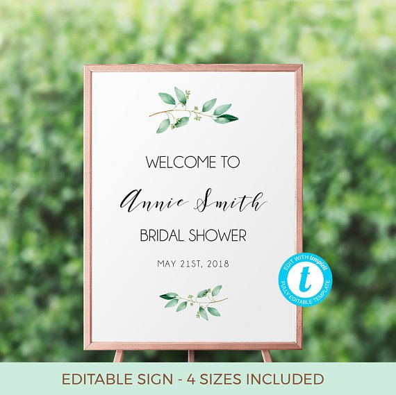 Greenery Bridal Shower Welcome Sign Template, Bridal Shower Sign ...