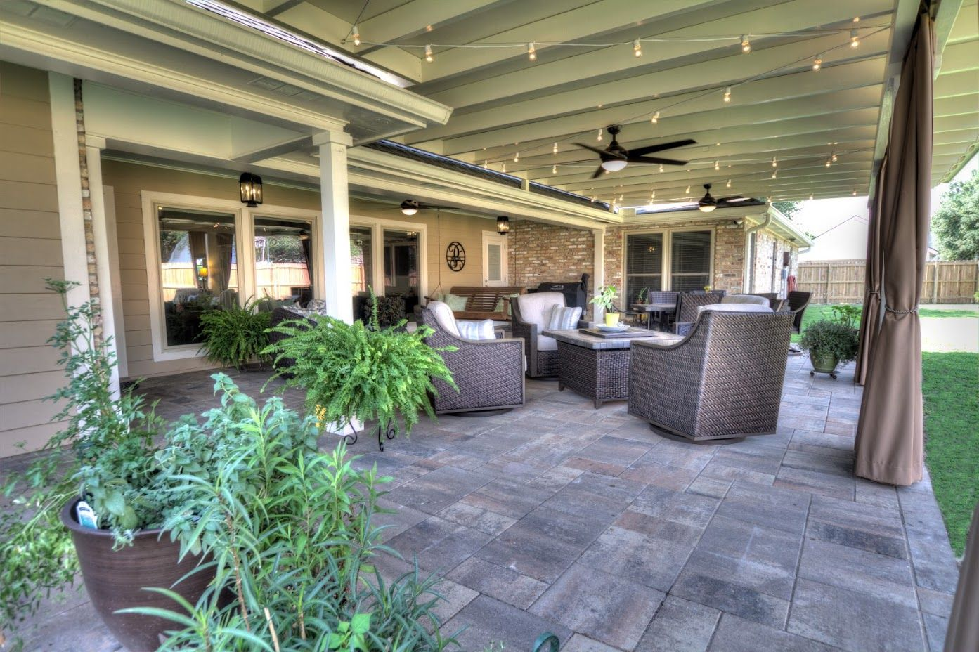 Stone Patio With Ceiling Fans Comforts And Spacious Seating Design Custom Patio Cover Arbor In Baton Rouge Www Lasunrooms Patio Patio Stones Covered Patio