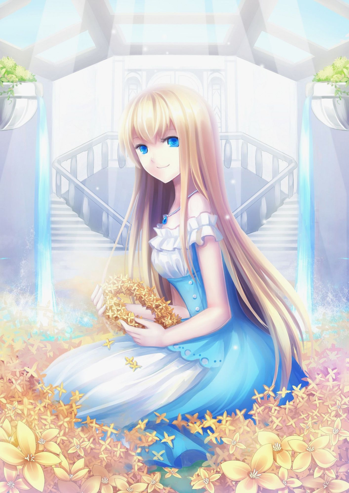 Anime Girl Blond Hair Blue Eyes