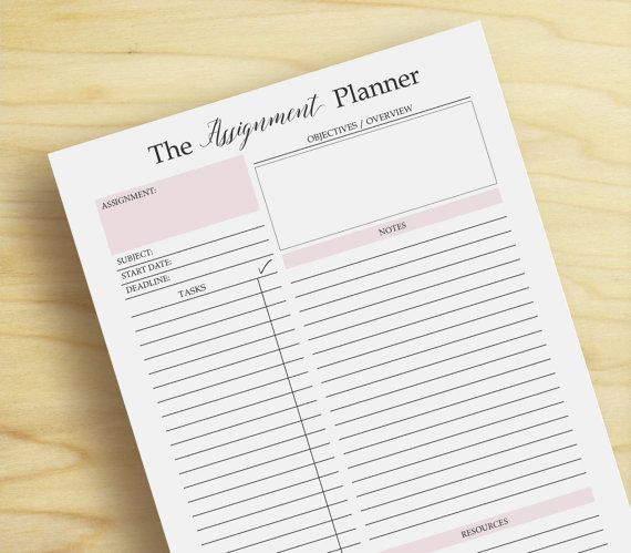 Assignment Planner Page A4 \ A5 Student Planner Printable Ideas - sample student agenda