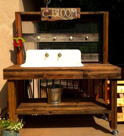 Surprising This Potting Bench We Created Featured A Reclaimed Cast Iron Customarchery Wood Chair Design Ideas Customarcherynet