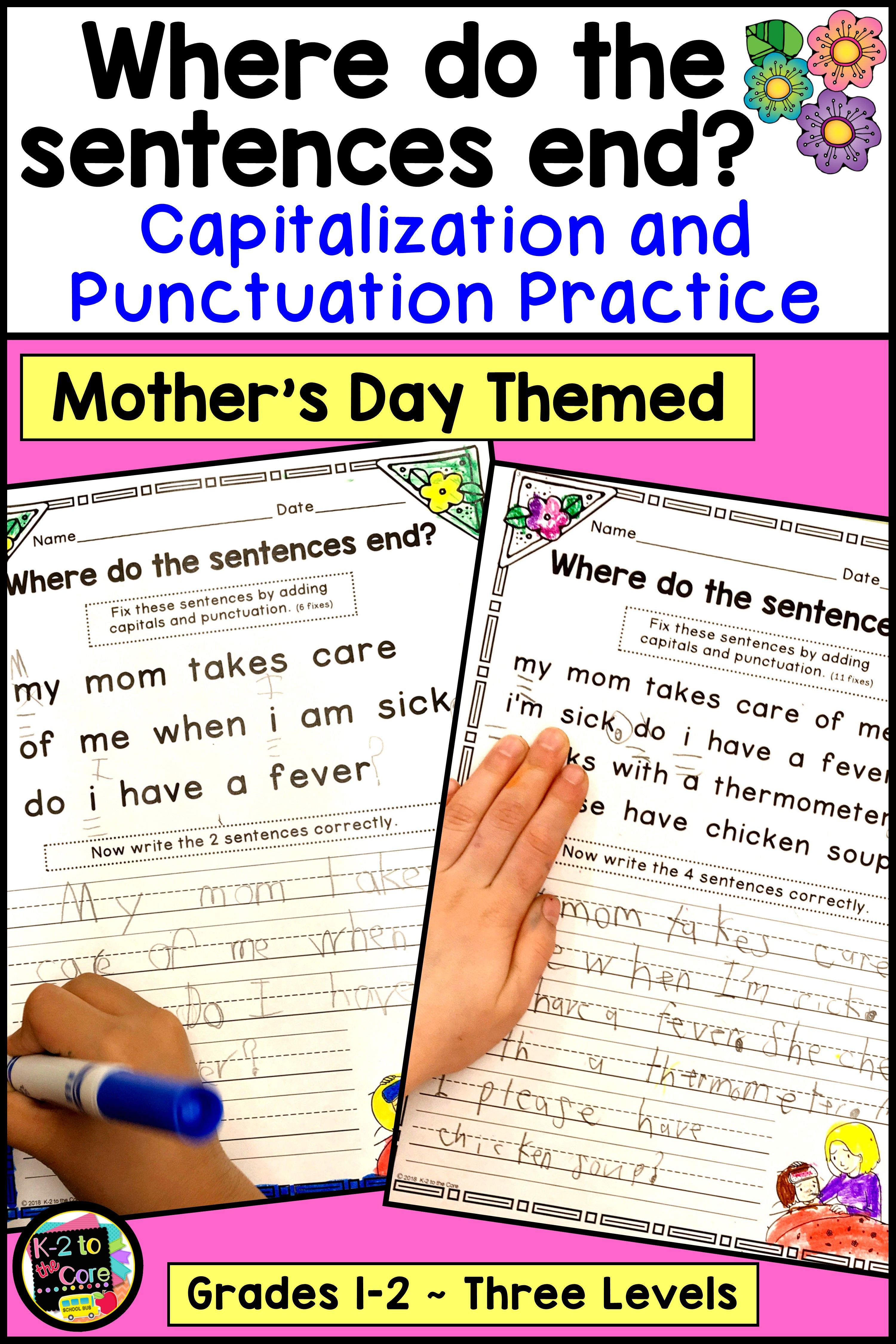 Mother S Day Writing Capitalization And Punctuation