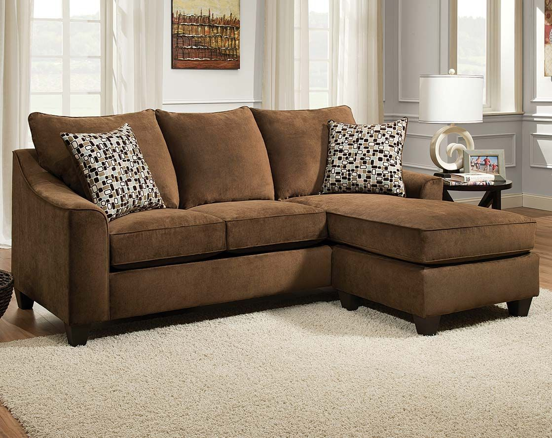 Brown Chenille Couch | Elizabeth Chocolate Two Piece Sectional Sofa