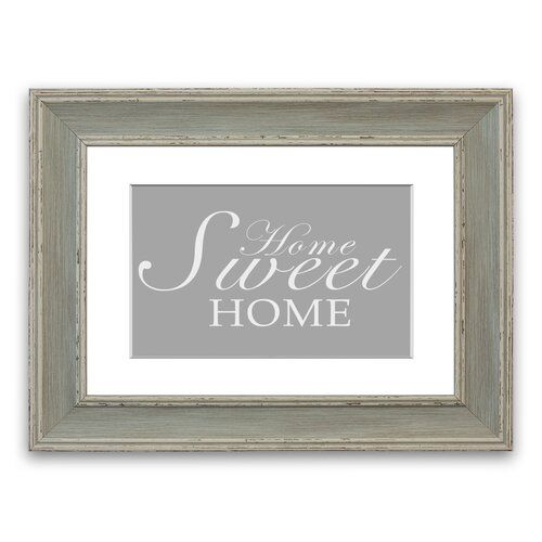 'Home Sweet Home' Framed Typography in Dark Grey