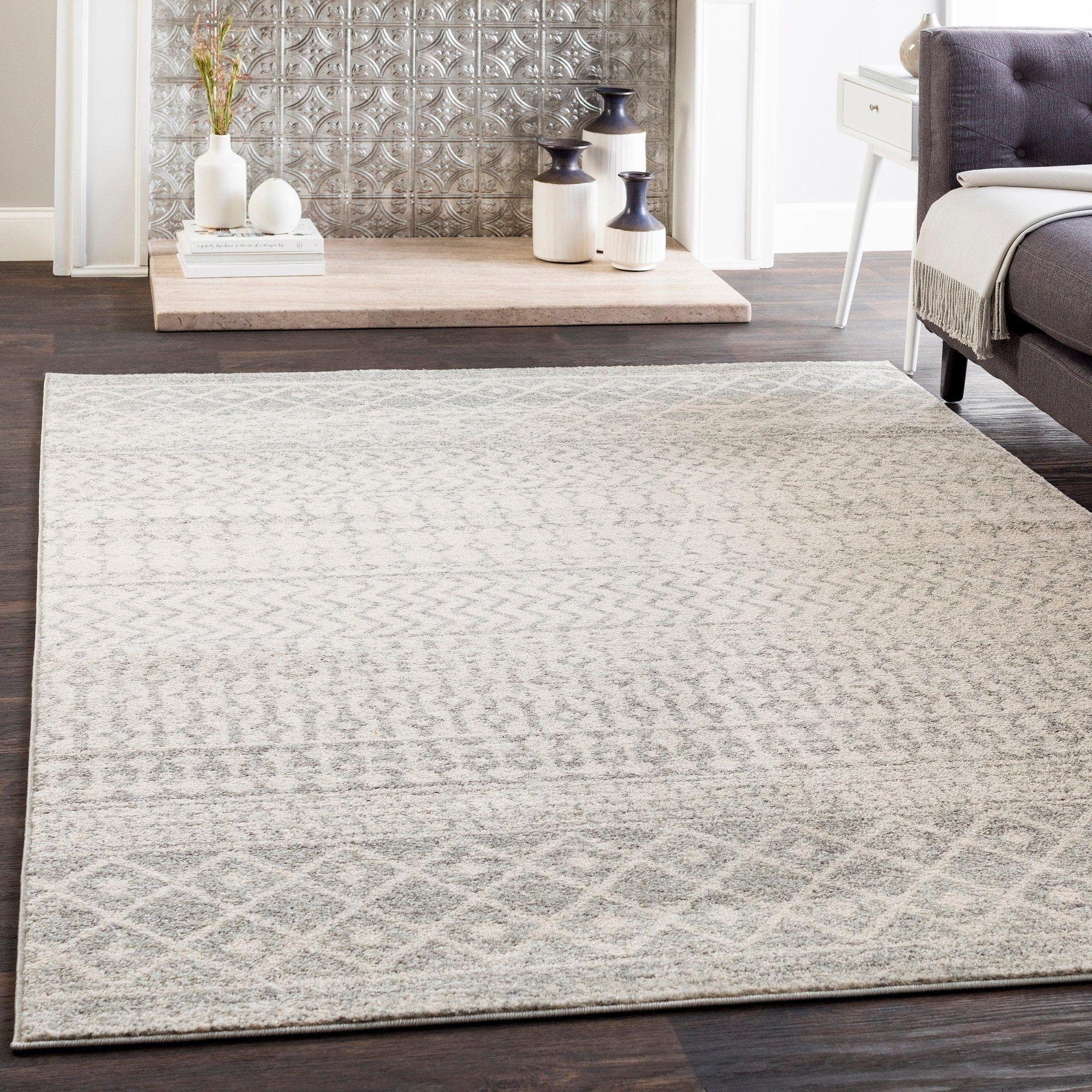 Distressed Geometric Ivory Gray Area Rug Bohemian Area Rugs Cool Rugs Grey Area Rug 5 x 10 area rugs
