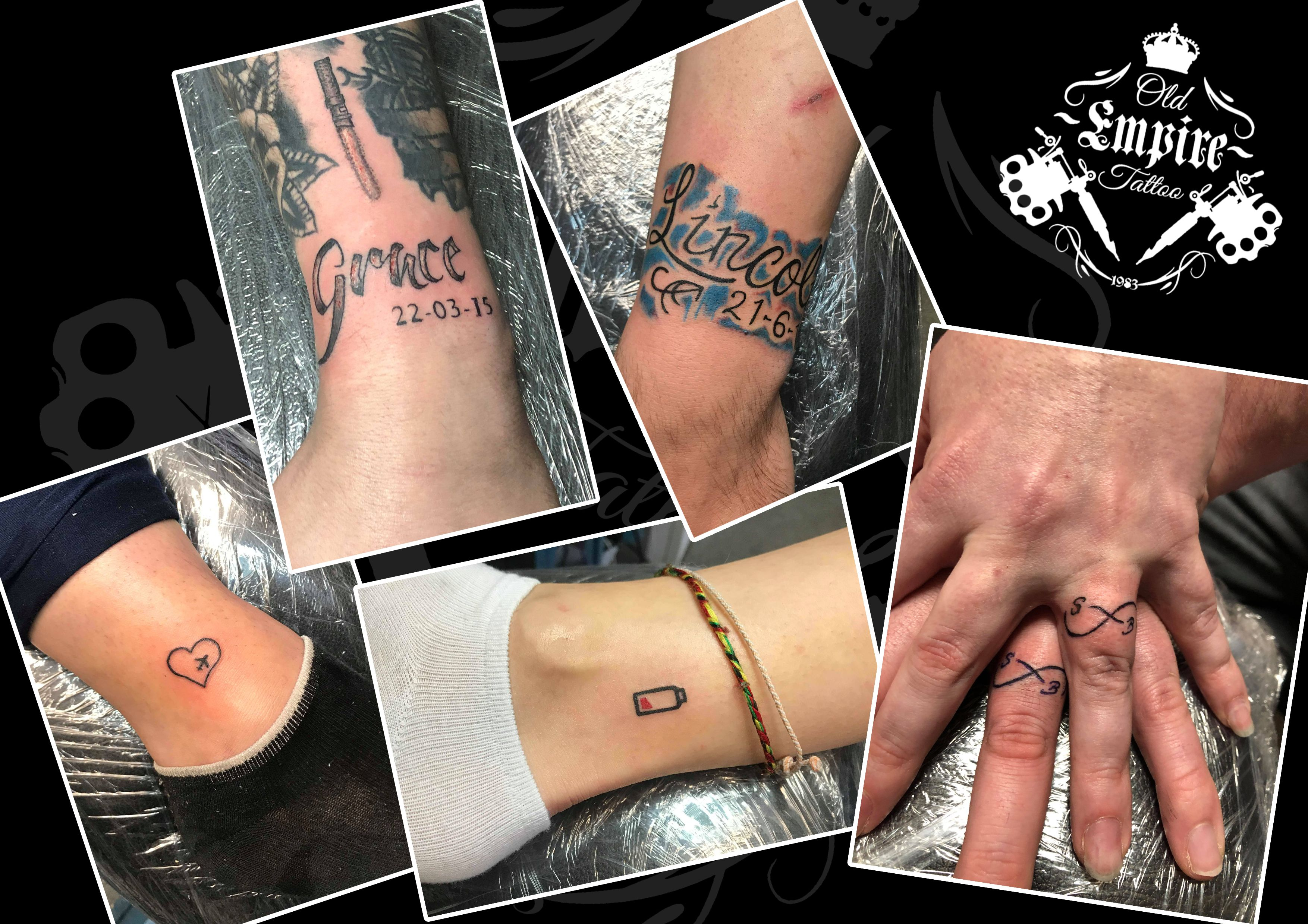 It's #TinyTats Tuesday at #OldEmpireTattoo #WristTattoo #BlackAndGrey #Script #FreeHand #Family #JetSetter #Heart #AnkleTattoo #Friendship #Battery #Funky #Colour #RingFinger #CouplesTattoo #Love #Infinity #Matching #FingerTattoo #AlwaysOriginal #Salford #Walkden #Coils4Life
