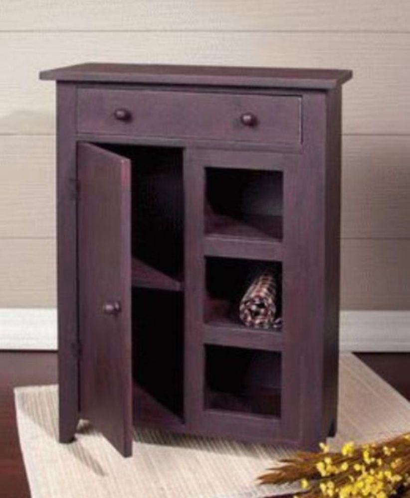 Primitive Small Cabinetdoordraweropen Shelves Rust Brown Black