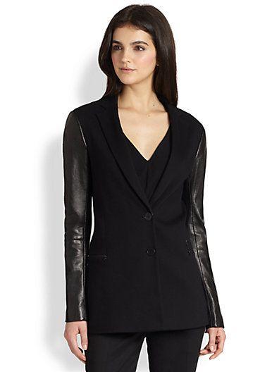 Theory - Lavey Pryor Leather-Sleeved Blazer - Saks.com