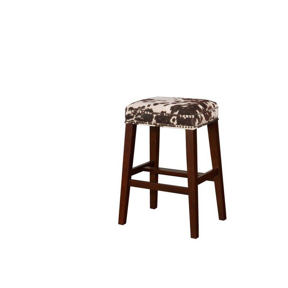 Excellent Walt Cow Print Bar Stool Brown White Linon Black White Dailytribune Chair Design For Home Dailytribuneorg