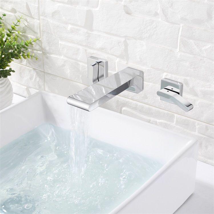 壁付水栓 洗面蛇口 バス水栓 水道蛇口 冷熱混合栓 2ハンドル クロム