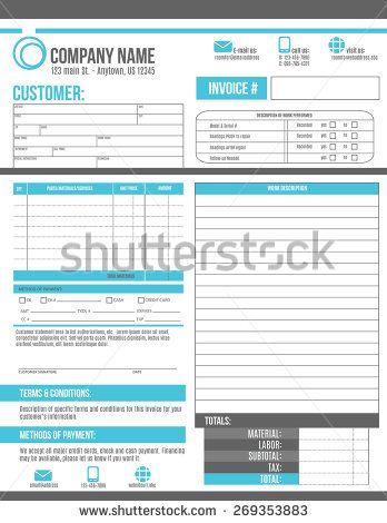 Customizable Invoice Template Design With Room For A Work Order Description Invoice Design Template Invoice Template Template Design