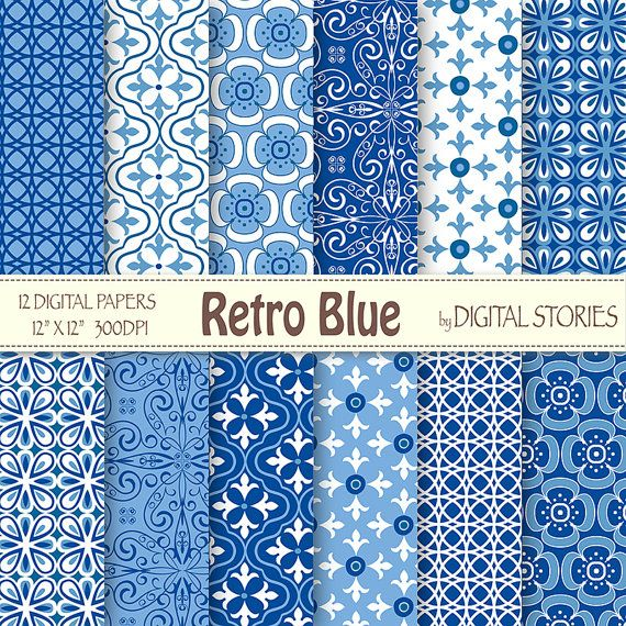 "Retro Digital Paper: ""RETRO BLUE"" Retro scrapbook digital paper pack with blue patterns, for invites, cards, backgrounds - Buy 2 Get 1 Free"