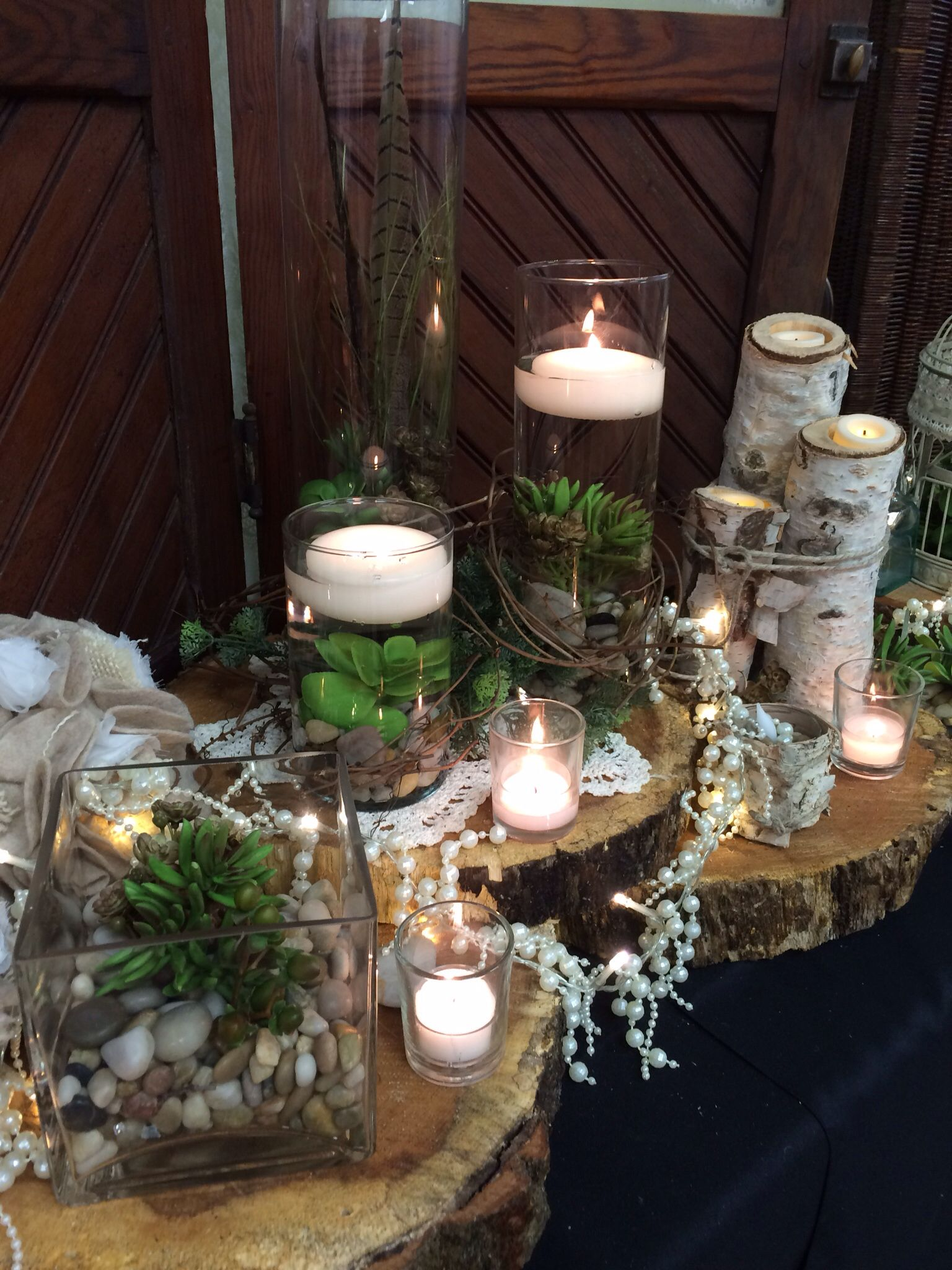 succulent submersed in water with floating candles  birch