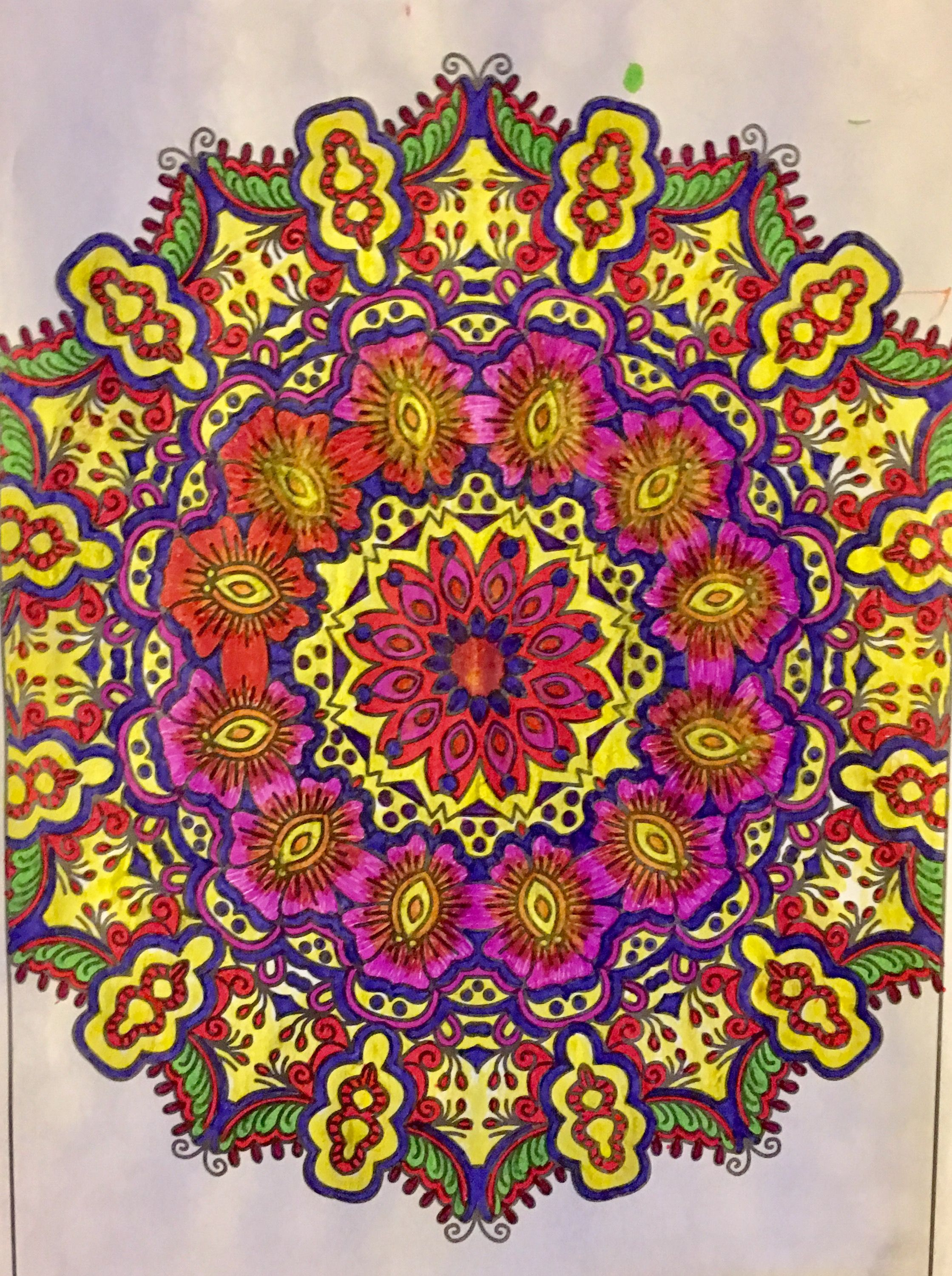 Mandala,colored with gel pens and sharpie markers,coloring by Judy ...
