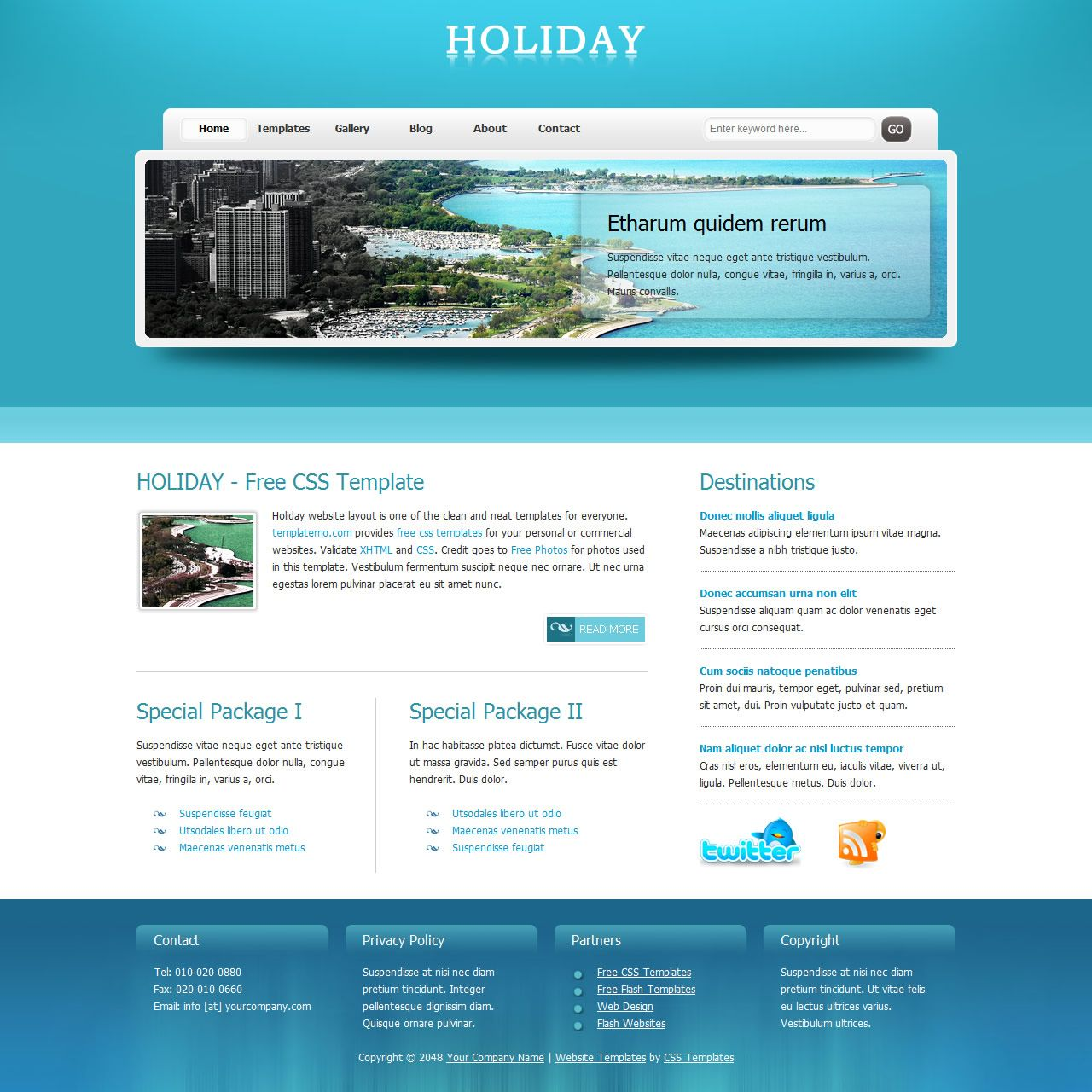 Holiday Template is a clean and neat HTML layout using aqua and ...