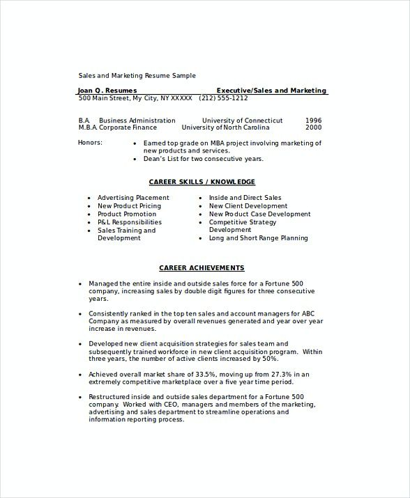 Marketing Sales Manager Resume , Sales and Marketing Manager Resume